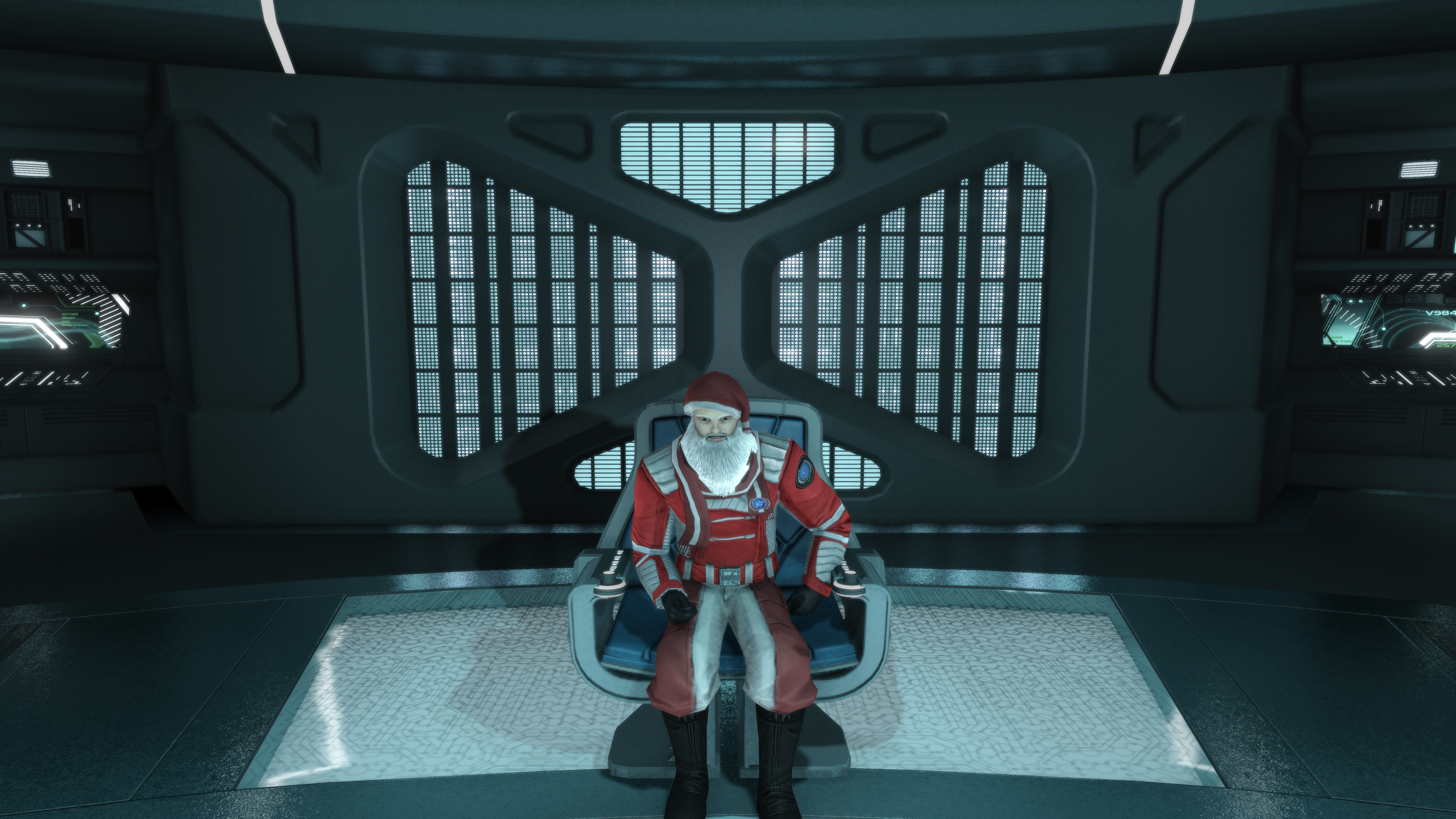 Captain's Yule Log, Supplemental.  Q is up to his usual pranks.  This time, he has turned me into Santa Claus and currently the USS Katana is being towed to the nearest starbase by 8 tiny dark matter torpedoes.  I am not amused....
