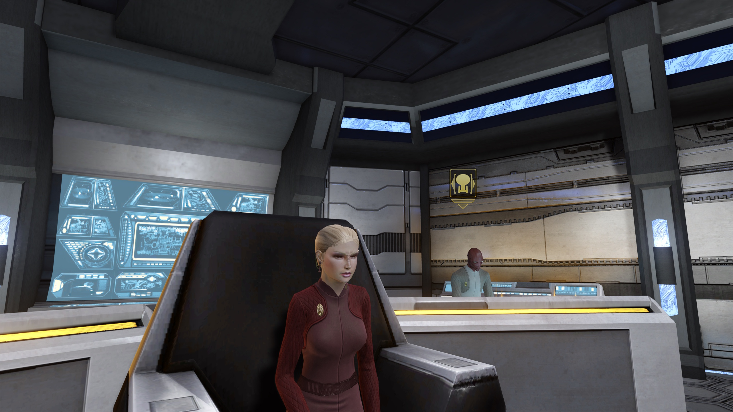 Admiral Gytaik sits in her new Captain's Chair.