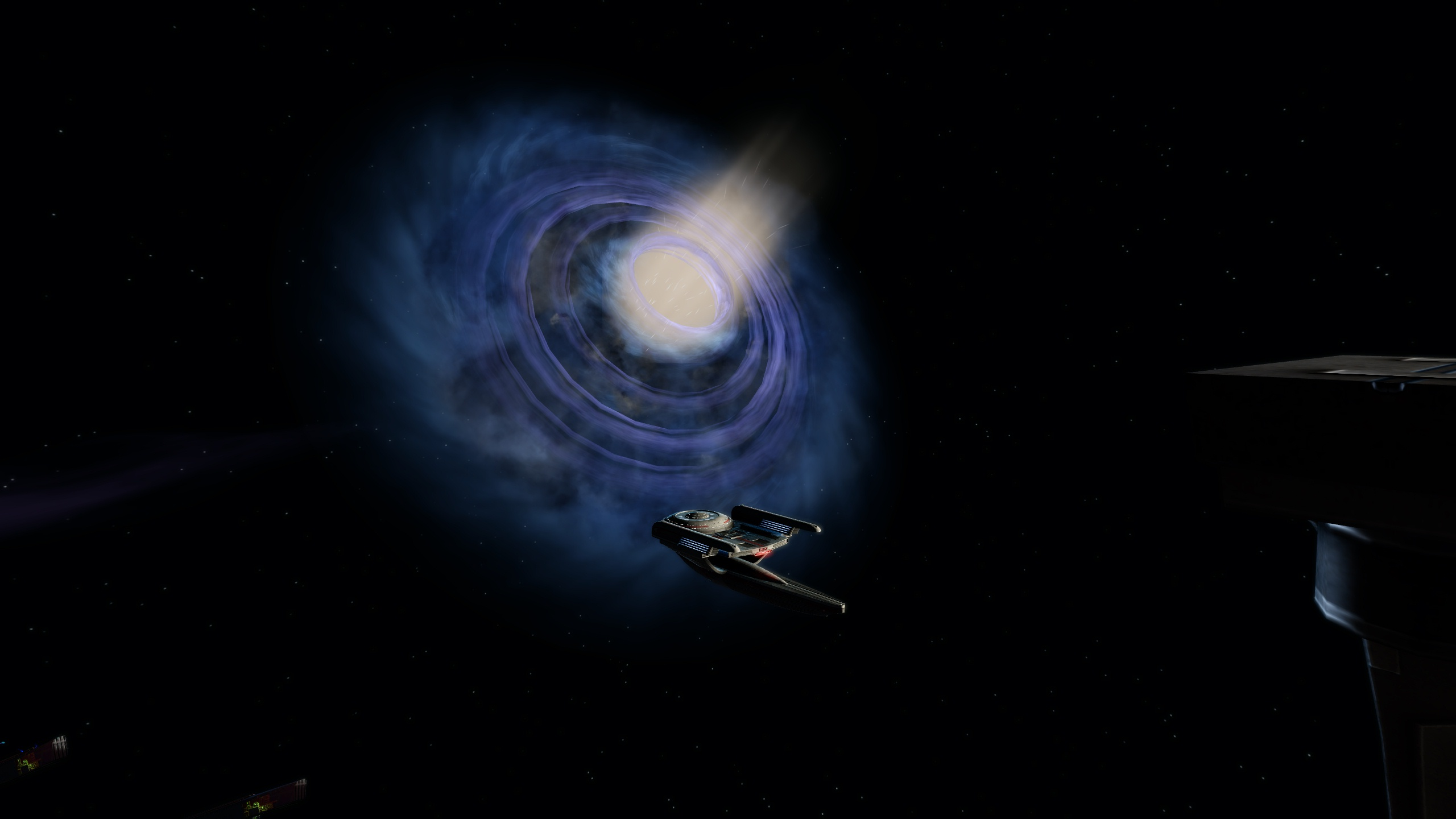 The USS Tookbank at DS9, with a magnificent view of the Wormhole.